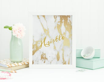 Hustle print Gold Marble effect
