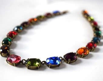 Multicolor Necklace, Jewel tone Necklace, Anna Wintour Necklace, Collet Necklace, Downton Abbey Necklace Multicolor Crystal, Harlequin 14x10