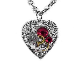 Steampunk Jewelry Necklace Watch Silver Filigree HEART RED Crystal, Girlfriend, Bridesmaids, VALENTINE Gift Women Her - Steampunk Boutique