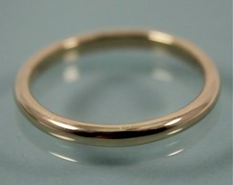 14k Gold Wedding Ring 2mm Half Round Band Stacking Ring Eco Friendly Recycled Gold Shiny Finish