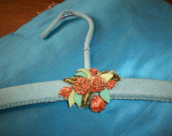 antique authentic ribbon work on a felt covered hanger 1920