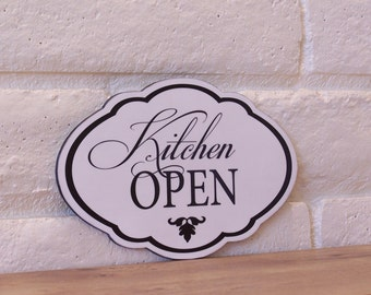 Kitchen Open Wood Sign, Elegant, Kitchen Decor, Home Decor, Black and White, Wall Deocr, Wedding Gift, Gift