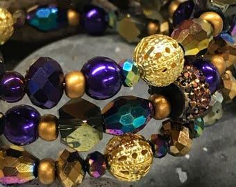 Memory Wire Wrap Bracelet, Plum, Violet, Gold,