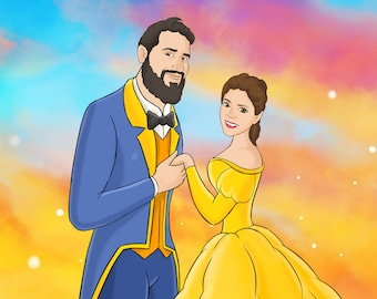 Custom portrait in Fairytale style,  Disney inspired cartoon portrait, Couple Portrait, Cartoon portrait, Family portrait, Cartoon portrait