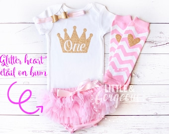 Pink Gold First Birthday Outfit, 1st Birthday Outfit Girl, First Birthday Crown Onesie, Legwarmers, Gold Pink Princess Outfit, Birthday Tutu