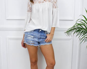 """New Womens Ladies """"Flavia"""" White Lace Loose Bell Sleeve Boho Top Shirt Blouse"""