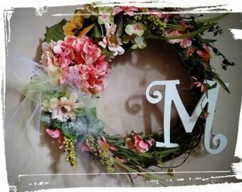 Spring/Summer Monogram Wreath, Mothers Day Wreath, Monogram Wreath, Anniversary Wreath, Wedding Gift