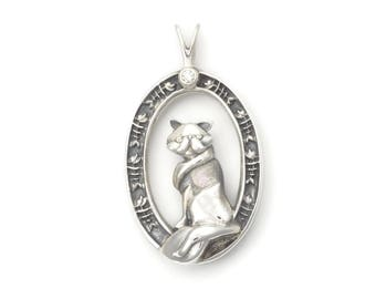 Silver Persian Cat Necklace - Diamond Persian Cat Pendant fr Donna Pizarro's Animal Whimsey Collection of Fine Silver Persian Cat Jewelry