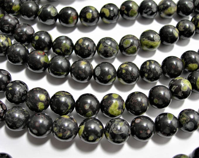 Black Rhyodacite - 10 mm round beads - full strand - 39 beads - A quality - RFG1530