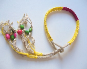 Rope statement avant garde / wooden necklace/natural necklace