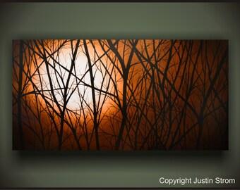 Moonlight Painting, Moonlight Print, Night Sky Painting, Night Sky Print, Moon Painting, Moon Print, Nature Painting,  Landscape Art, Trees