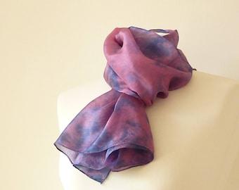 naturally dyed purple silk scarf  pink silk scarf eco friendly hand dyed scarf shibori pink scarf purple scarf indigo silk scarf unique gift
