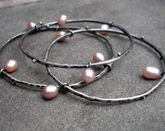 Sterling Silver Bangles - Silver Stacking Bangles - Sterling Pearl Bangles - Silver Pink Pearl Stacking Bracelets - Heavy Stacking Bangles