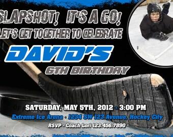 Ice Hockey Birthday Invitation Printable File DIY - Hockey Birthday Invitation DIY - Hockey Party Invite