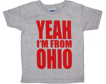 Toddler Tee - 'Yeah I'm From OHIO' in Red on Heather Grey Tee