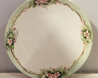 MZ Austria Plate - hand painted pink flowera