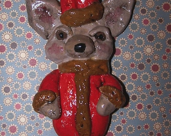 Folk Art Chihuahua Santa Claus Ornament Doll Ooak