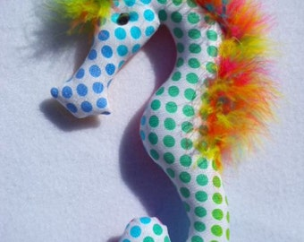 rainbow, polka dot,pastel, seahorse, decoration, ornament, reversible. 496