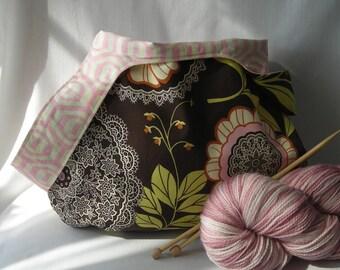 Knitting Project bag - medium size japanese knot bag - shawl sock crochet amigurumi - Amy Butler Lotus Lacework  - free pattern
