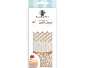 Gold Cupcake Liners, Rose Gold and White Cupcake Liners, Sweet Tooth Fairy Cupcake Liners