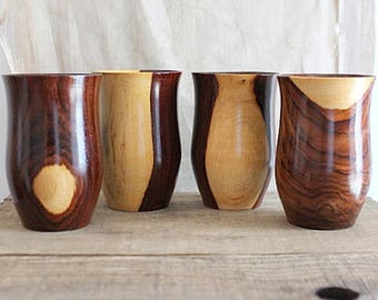 Vintage Turned Wood Tumblers Cups, Set Of Four