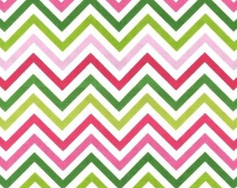 Pink & Green Skinny Chevron From Robert Kaufman