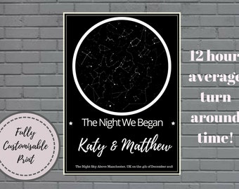 Personalized Star Map - Night Sky Map Poster Celestial Map First Anniversary Gift Star Chart Constellation Wedding gift Digital Romantic