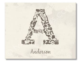 Letter A Poster Print, A Monogram Initial Letter A Art , Nursery Wall Art Print, Baby Shower or Wedding Gift, Letter A Poster Art