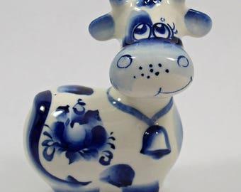 RUSSIAN GZHEL Porcelain Figurine COW #0192
