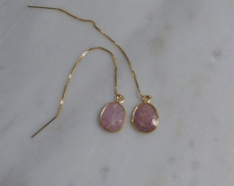 Pink Sapphire and Gold Threader Earrings
