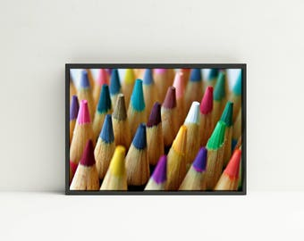 Colored Pencils Print Photography - Digital Download - Colored Pencils Photograph - Classroom Decor - Teacher Print