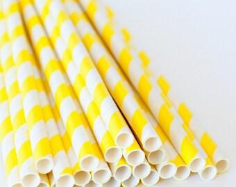 Big 80ct Pack Sunshine Yellow Stripe Paper Drinking Straws - Disposable Party - Celebration & Cake Pop Straws