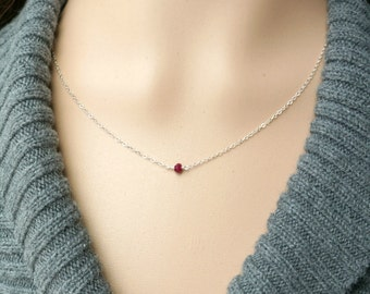 Ruby and Silver Necklace / Deep Red Natural Ruby on a Sterling Silver Chain, Tiny Petite Everyday Jewelry, July Birthstone Necklace