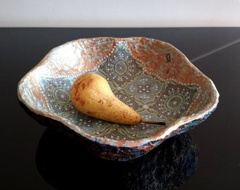 Beautiful candy dish, Table accessories, Centerpieces, Durable tray, Cute fruit plate, Oriental handmade paper mache bowl, Sympathy Gift