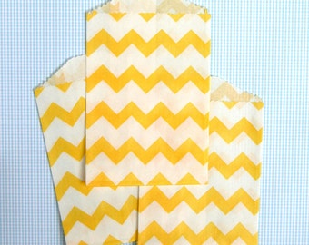 SALE: Little Yellow Chevron Paper Bags (20)