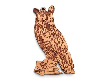 Great Horned Owl Christmas Ornament crafted from American Black Cherry Wood by Nestled Pines Woodworking
