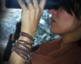 Womens Leather Sterling Silver Stone Cuff Wrap | Brown Sugar | Turquoise, Brown Goldstone Semi-Precious Stones, Leather Wrap Bracelet