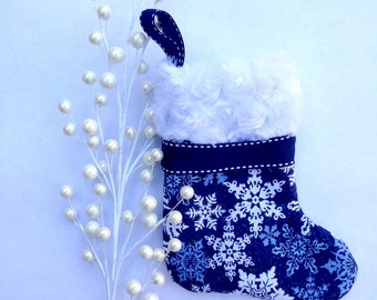 Snowflake Mini Christmas Stocking- Gift Card Christmas Stocking- Teacher Gifts- Co-worker gifts- Small Christmas Gifts- Gift Card Holder