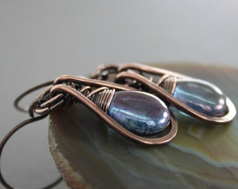Dangle glass copper earrings with framed amethyst color Czech glass briolette - Amethyst earrings - Drop earrings - Dangle earrings - ER011