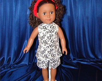"For American Girl Style 18"" Dolls, Summer Doll Clothes n Shoes too; Black & White Short Outfit! School or Playground Doll Clothes"