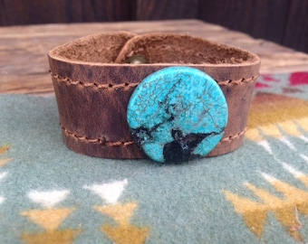 Distressed Leather Howlite Turquoise Stone Cuff Bracelet