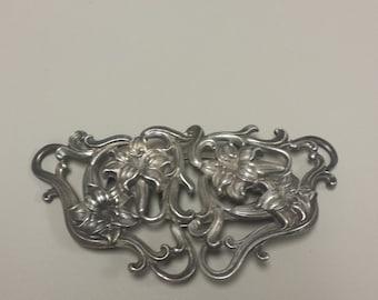 Antique Art Nouveau Sterling Silver .925 Belt Buckle Circa 1901
