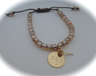 Adjustable Brown Cotton Cord Beaded Bracelet With Dart Charm