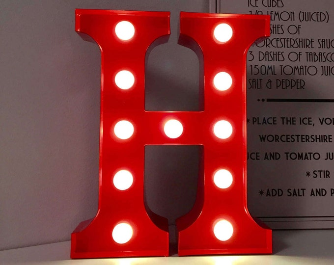 Vintage Carnival Style Light up Letter H - Battery Operated