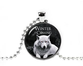 Winter is Coming Necklace Direwolf Ghost Pendant Jon Snow Wolf Necklace Game of Thrones Jewelry