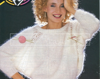 Lady's Dolman Sweater 32-38in Mohair Patons 7514  Vintage Knitting Pattern PDF instant download