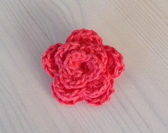 Lapel Pin, Coral Boutonniere, Buttonholes, Crochet Lapel Pin, Wedding Boutonniere, Crochet Brooch, Crochet Flower, Coral Lapel Pin.