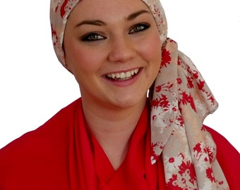 Carlee Pre-Tied Head Scarf, Women's Cancer Headwear, Chemo Scarf, Alopecia Hat, Head Wrap, Head Cover for Hair Loss - Gray, Red Flowers
