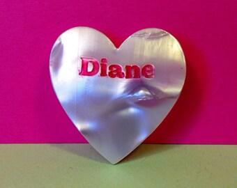 Name Pin - 'Diane' - Vintage Name Pin - Vintage Brooch - Heart Shaped Name Brooch