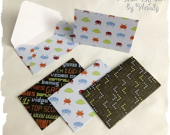 Set of 4 Video Game Note Cards with Matching Envelopes. Thank You note, Birthday Gift Card Holder, Money Envelope, Teacher thank you,